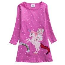 Girls Unicorn Vestidos Long Sleeve Dress Kids Party Voile Children Licorne Autumn and Winter Dresses AL6458