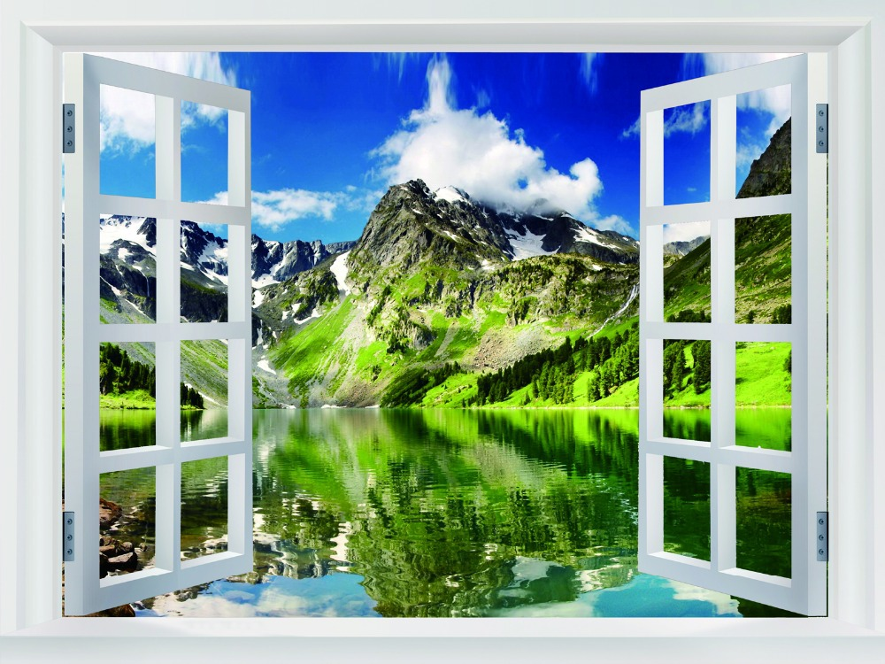 Highland lake mountains landscape huge giant fake windows decor posters fw00502 in wall stickers from home garden on aliexpress com alibaba group