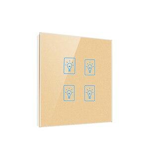 Image 2 - האיחוד האירופי בריטניה סטנדרטי חכם בית קיר מגע מתג, 4 כנופיה 1 דרך אור קיר טקט חיישן מתג, AC 220 250V, קריסטל זכוכית פנל