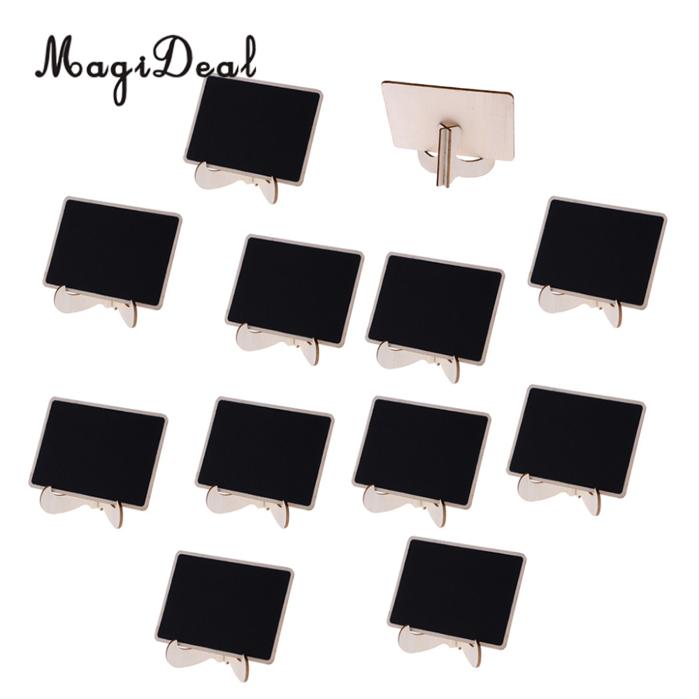 MagiDeal 12Pcs/Lot Wooden Easel Mini Chalkboard Blackboard Baby Shower Wedding Party Table Number Sign
