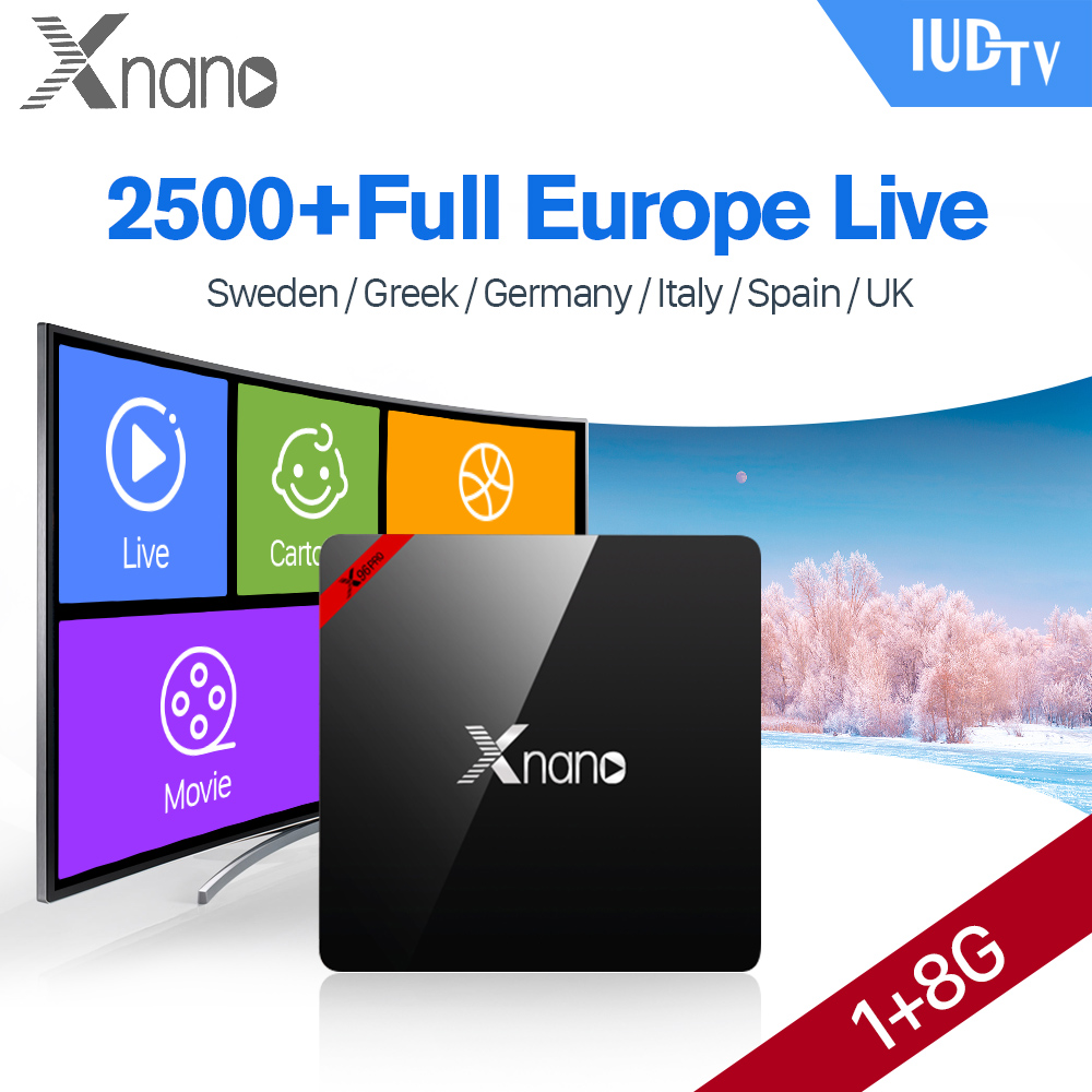 Xnano IPTV Europe Box 1G 8G S905X Android TV Box with IPTV Subscription 1 Year IUDTV IPTV Sweden Germany Italy UK Spain Greece smart iptv box quad core android tv box 1g 8g with arabic iptv europe iptv subscription 1 year qhdtv iudtv account media player