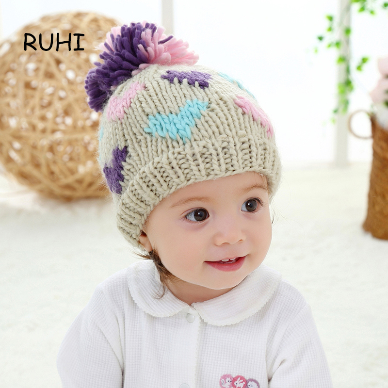 New Baby Girl Hat Print Solid Knit Kids Beanie Winter Ear Caps For Boys Cute Love Colorful Warm Children Girls Hats BMZ17