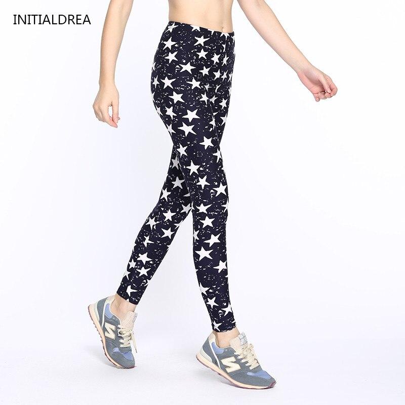 Women   Leggings   2018 Fashion Star Print High Waist Stretch Elasticity Leggins Spring Autumn Slim Skinny   Leggings   Pants Female