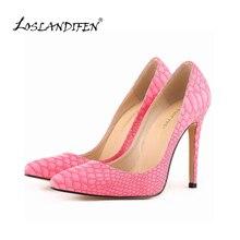 LOSLANDIFEN дамы новый стиль night party насосы убийца женщин высокой пятки обуви змея шаблон большой размер сексуальный стиль доставка 302-1Snake