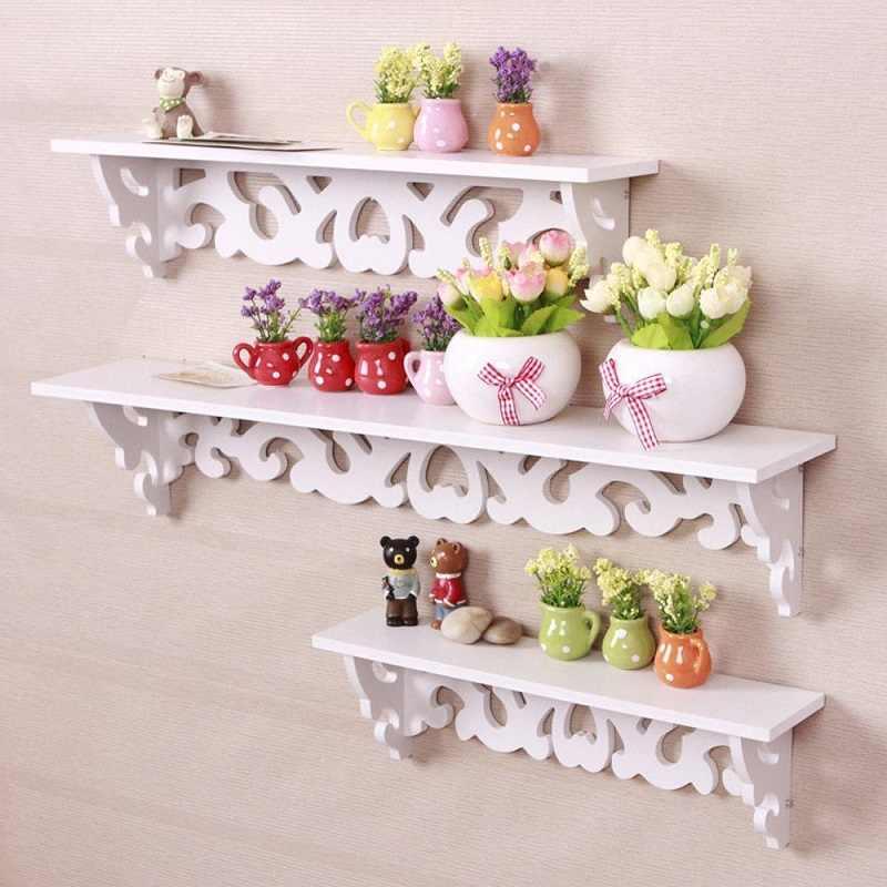 Prateleira de parede para mdf 3 de pçs/set, prateleira branca para pendurar na parede, moderna, simples, prateleira de armazenamento, suporte e decoração para casa