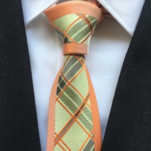 New Arrival Men Stylish Slim Tie Unique Causal Necktie Orange with Fashion Plaids