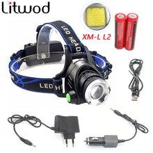 Litwod 568D светодиодные фары Алюминий xm-l L2/T6 зум светодиодные фары глава фонарик Регулируемый фара 18650 Батарея спереди свет