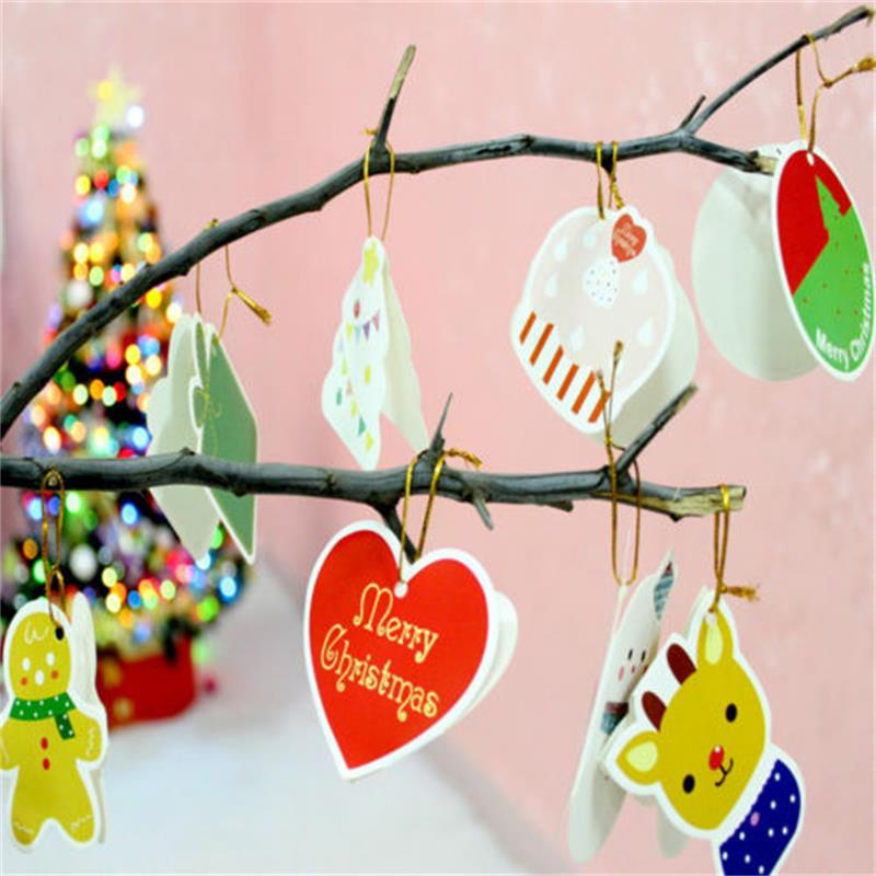 14x Christmas Tree Hanging Greeting Cards Decoration Blessing Cards ...