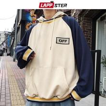 LAPPSTER Men Patchwork Streetwear Sweatshirts Harajuku 2020 Mens Korean Fashions Hip Hop Hooded Hoodies Vintage Casual Hoodie