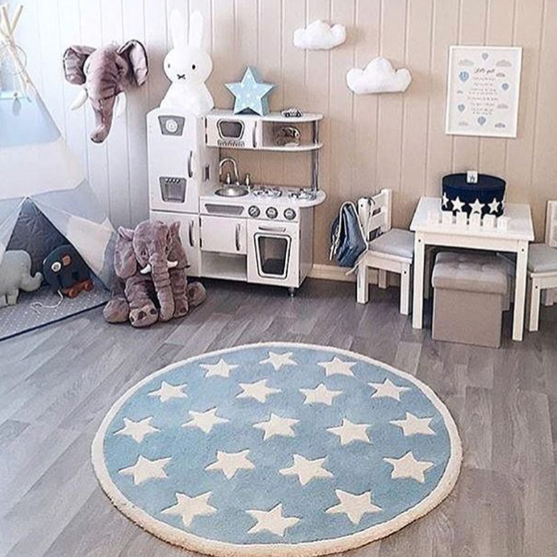 Star Rug Tapete Infantil Round Nordic Cotton Floor Mat Kilim Soft Blue Rugs for Baby Children