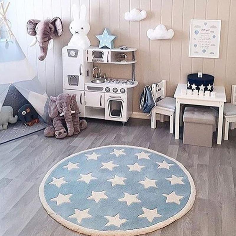 Ev ve Bahçe'ten Kilim'de Star Halı Tapete Infantil Yuvarlak Nordic Pamuk Paspas Kilim Yumuşak Mavi Kilim Bebek Çocuk Çocuklar için Yatak Odası Oturma Odası dekor'da  Grup 1