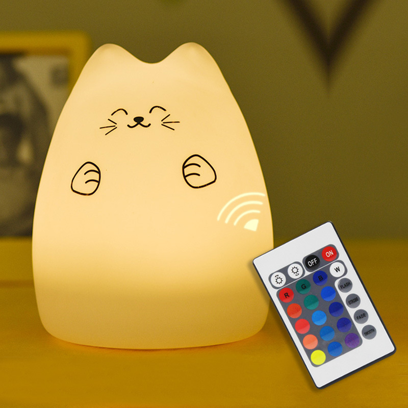 SuperNight Cute Cartoon Cat LED Night Light 7 Colors Silicone Rechargeable TapRemote Control Children Baby Bedside Table Lamp (22)