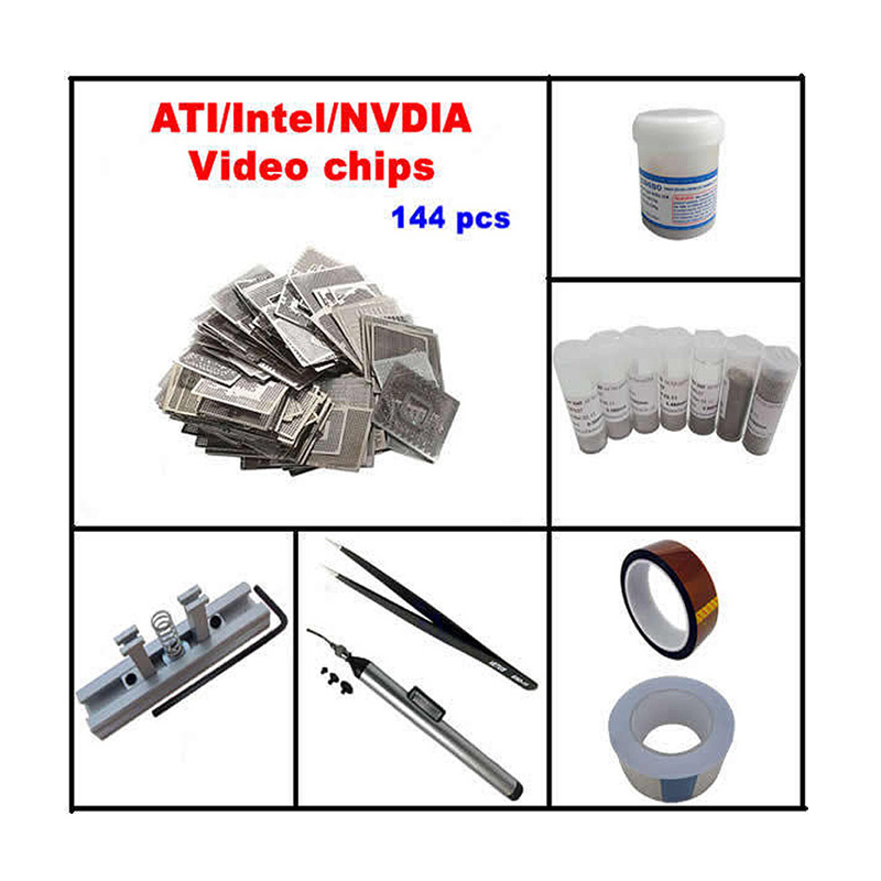 Direct Heat INTEL/ NVIDIA/ ATI GPU Stencils 144pcs + direct heat reballing station+ BGA balls + solder flux free shipping direct heat ps4 stencils 0 4mm 0 55mm solder ball bga reballing stencils