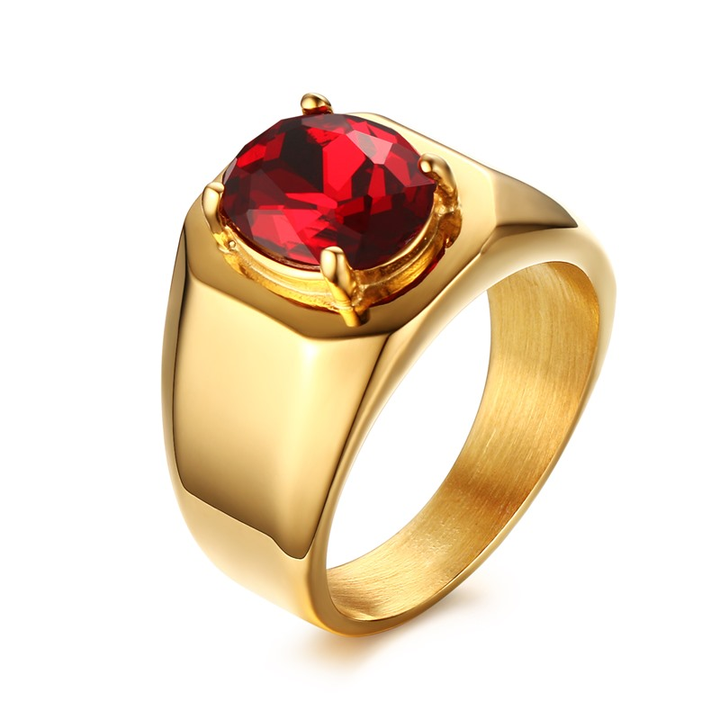 JHSL Male Men Big Rings High Class Oval Red Cubic zirconia Stone Gold Color 316L Stainle ...