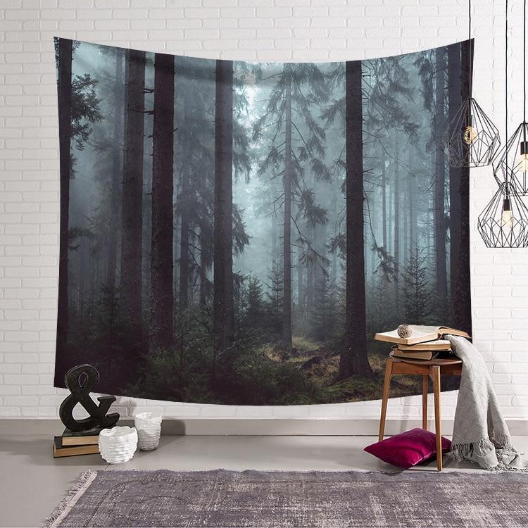 CAMMITEVER drevo tapiserija zid visi zelena siva dnevna soba - Domači tekstil