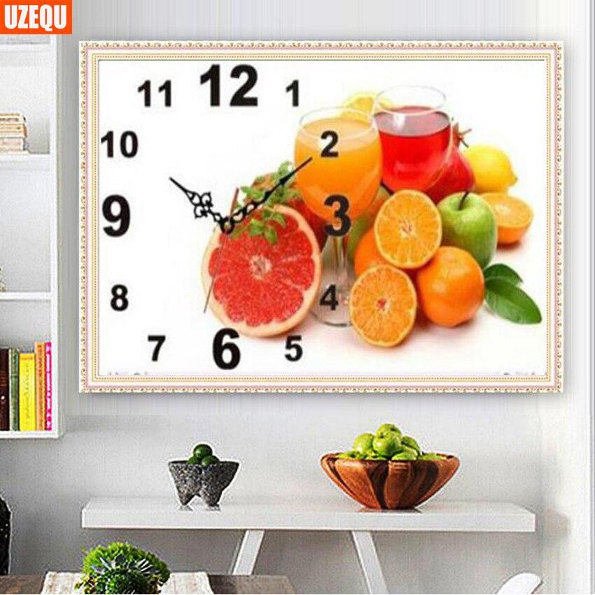 UzeQu Full Diamond Mosaic DIY Diamond Painting Cross Stitch Wall Clock Fruit And Goblet Diamond Embroidery