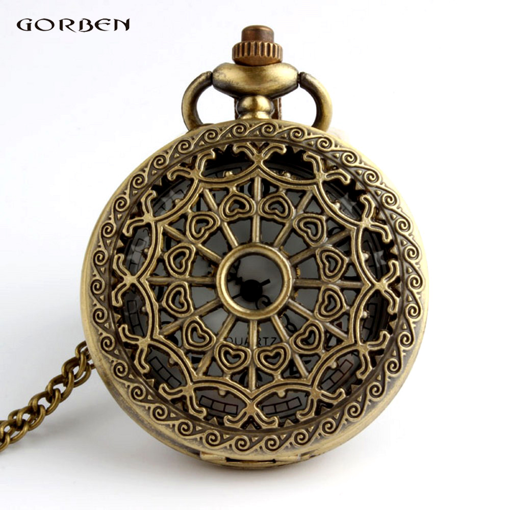 Hot Sale Vintage Bronze Web Spider Pocket Watch Necklace Antique Chain Pendant Watch Medical Nurse Fob Watches Clock Of Pocket