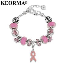 KEORMA Breast Cancer Awareness Nastro Rosa Del Pendente Del Cuore Della Catena Del Serpente Regolabile Charm Bracelet & Bangles Donne Regalo di Giorno della Madre(China)
