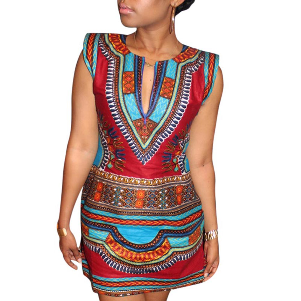<font><b>2018</b></font> <font><b>New</b></font> Fashion <font><b>Women</b></font> Summer <font><b>Sleeveless</b></font> Ethnic <font><b>Style</b></font> <font><b>Dress</b></font> <font><b>Sexy</b></font> V-neck Printed Slim Fit Short <font><b>Dress</b></font> WML99 image