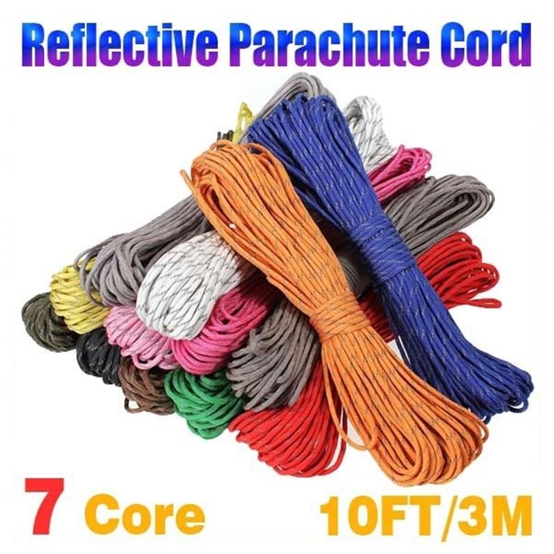 10ft 7 Core 550lb Reflective Strand Parachute Cord Survival Lanyard Paracord Rope