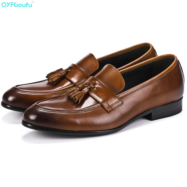 QYFCIOUFU  Italian Tassel Men's Casual Oxford Shoes Genuine Leather Shoes High Quality Cow Leather Luxury Wedding Work Shoes