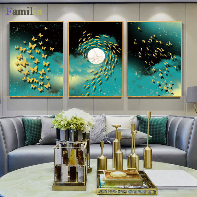 11.8x17.7 inch x2 No Frame Print On Canvas Wall Paintings Posters Abstract Golden Fish Butterfly Pictures Modern Home Decor Wall Art Painting 30x45cm
