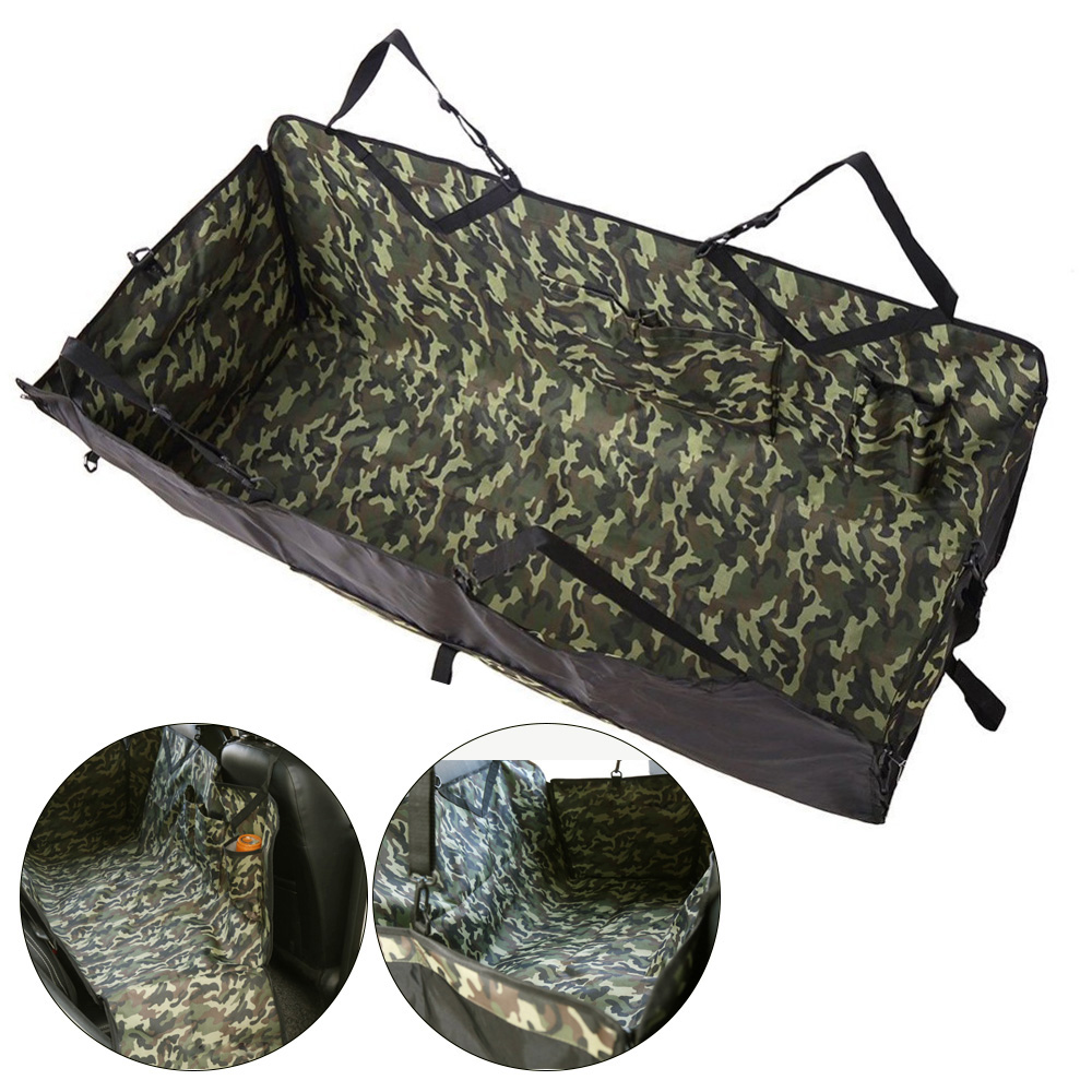 Waterproof Camouflage Pattern Dog Back Seat PVC hammock Car pet seat cover With Storage pockets Army