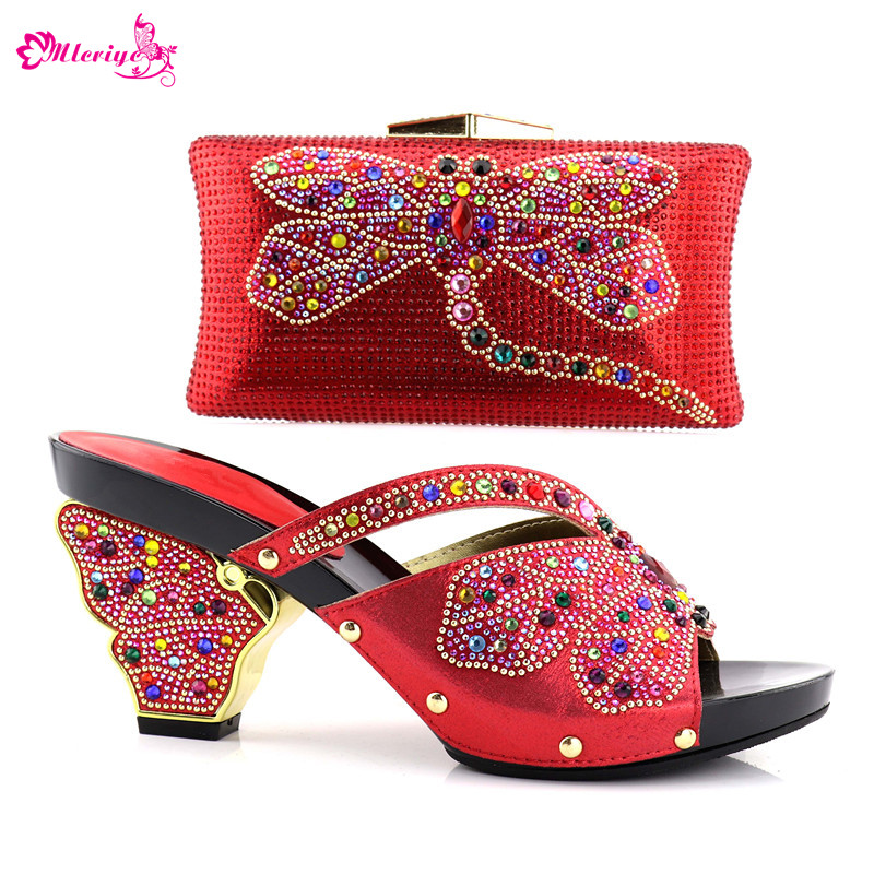 все цены на Latest Italian Shoes with Matching Bags Set Decorated with Rhinestone Summer High Heeled Shoes for Women Slip on Shoes for Women