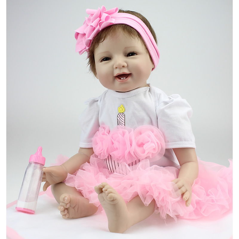 NPKCOLLECTION 22 Inch/55 cm Silicone Soft Reborn Baby Doll 100% Handmade Baby Newborn Lovely Babies Girl Kids Birthday Xmas Gift handmade 22 inch newborn baby girl doll lifelike reborn silicone baby dolls wearing pink dress kids birthday xmas gift