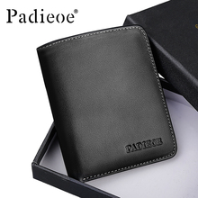 Padieoe 100% Genuine Leather Men Women Mini Wallet High Quality Small Purse Bag Fashion Unisex Portable Card Holder Wallets