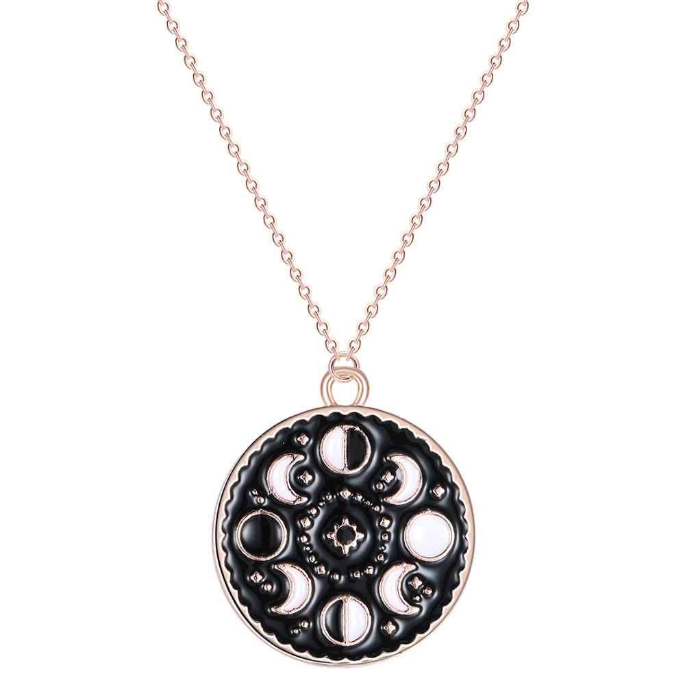 Chandler Moon fase collar Galaxy gargantilla collares para mujeres negro esmalte Vintage Rouind colgante Luna reciente gargantillas