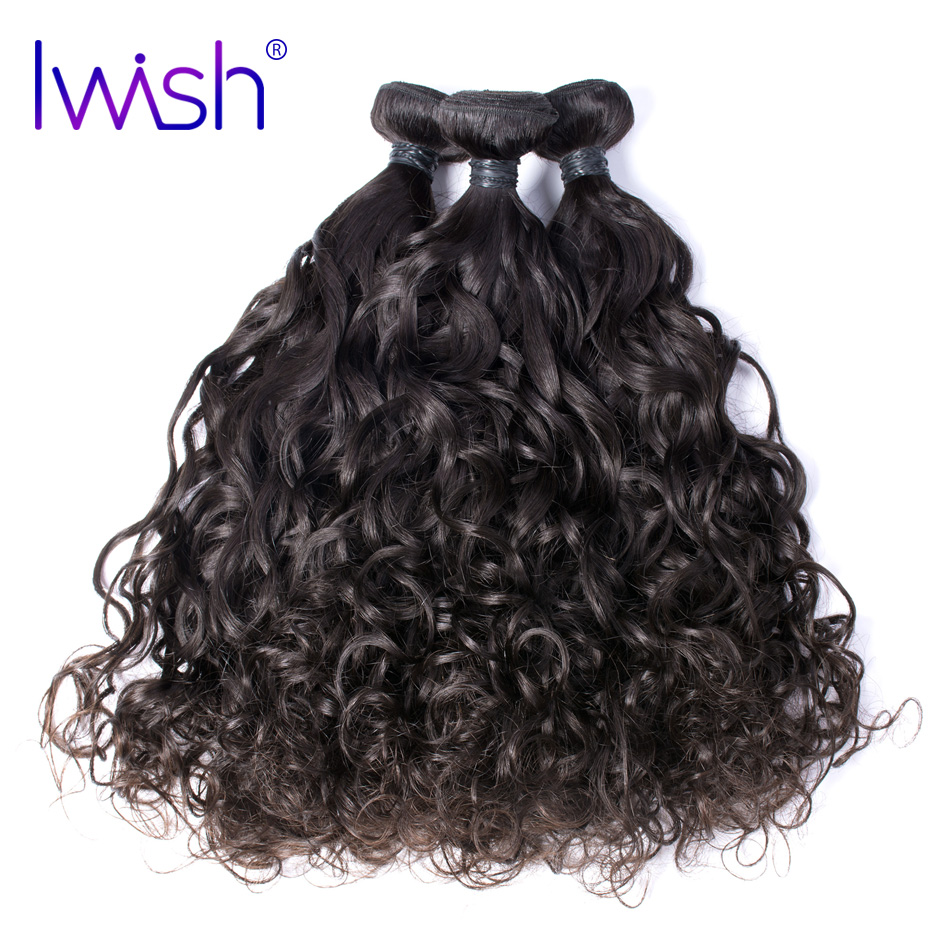 Iwish Hair Brazilian Virgin Hair Water Wave 100% Human Hair Unprocessed Hair Weave Bundles 12-24 inch 1 piece Free Shipping