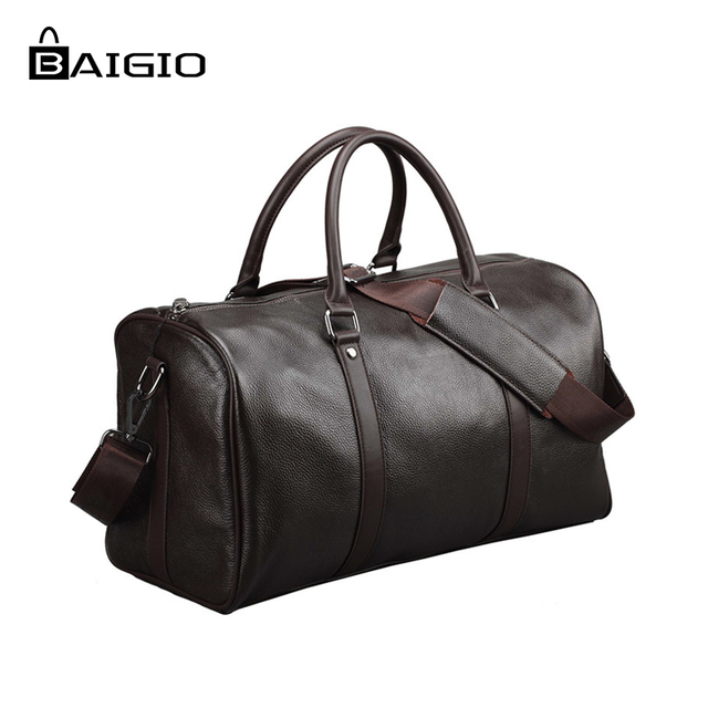 Baigio Men 2 colors Travel Bag Genuine Leather Large Capacity Luggage  Travel Bags Waterproof Weekend Duffle Luggage Laptop Bag 1b2be3a4d31aa