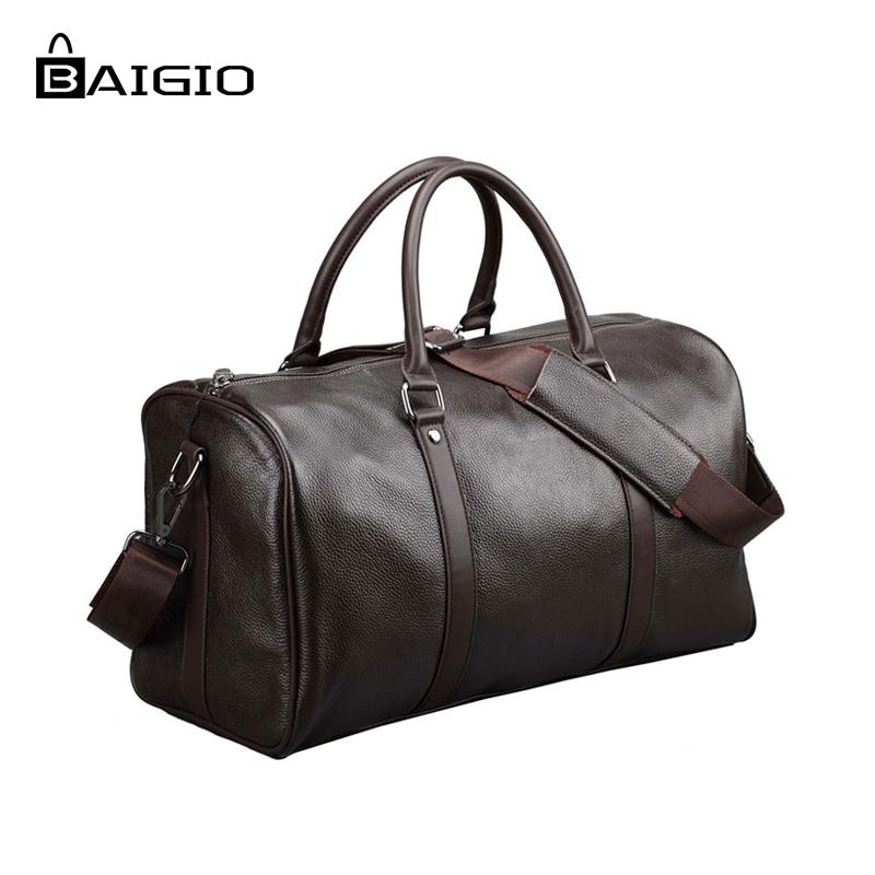 Baigio Men 2 colors Travel Bag Genuine Leather Large Capacity Luggage Travel Bags Waterproof Weekend Duffle Luggage Laptop Bag