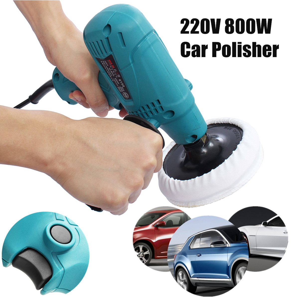 New Car Polisher 220V 800W 3500r/min Speed Adjustable Electric Car Boat Polishing Waxing Sander Buffer цена