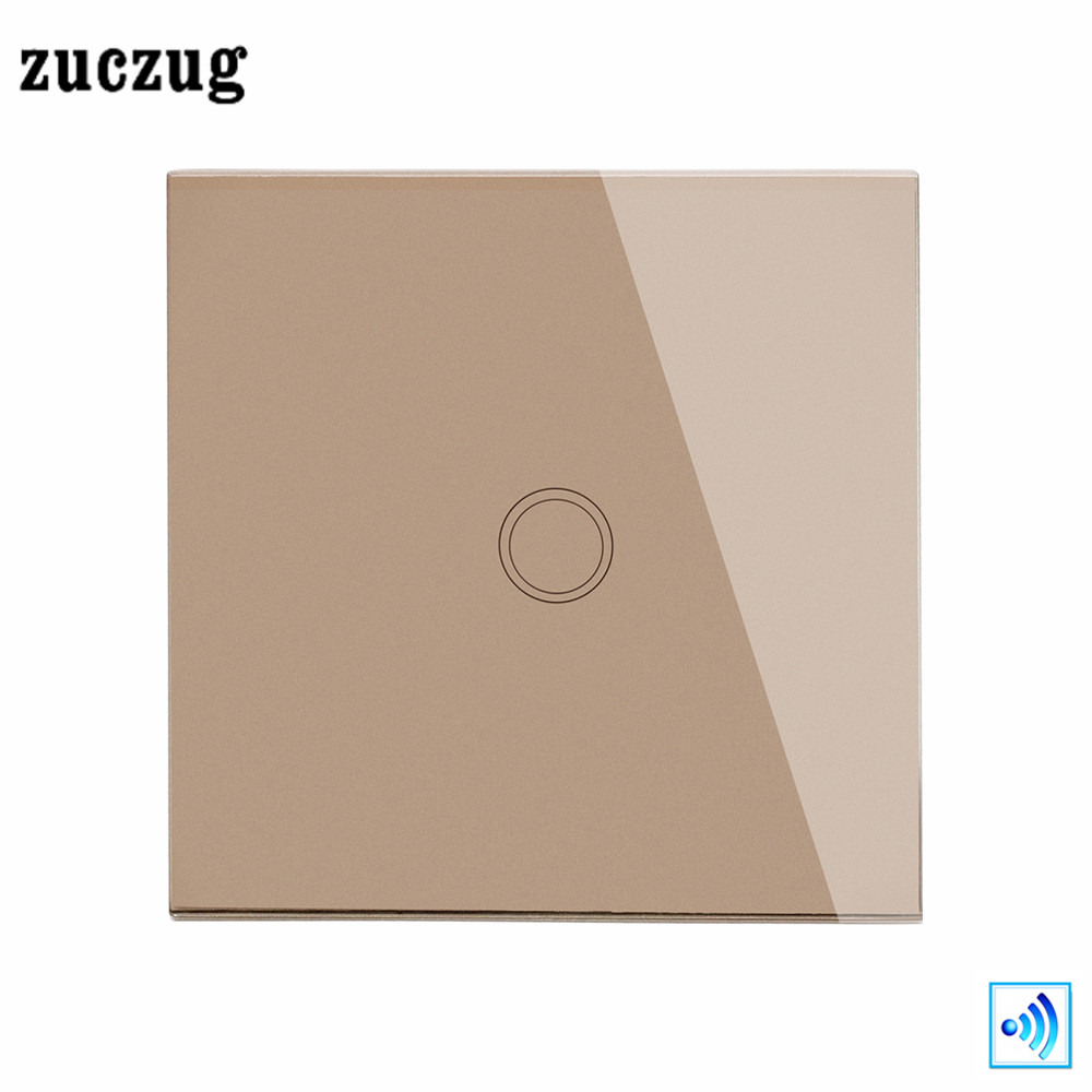 Zuczug EU/UK Remote Control Switch , Luxury Smart Home 1 Gang 1 Way light Switch, Gold Glass Panel Wireless Wall Touch Switch 2017 smart home crystal glass panel wall switch wireless remote light switch us 1 gang wall light touch switch with controller