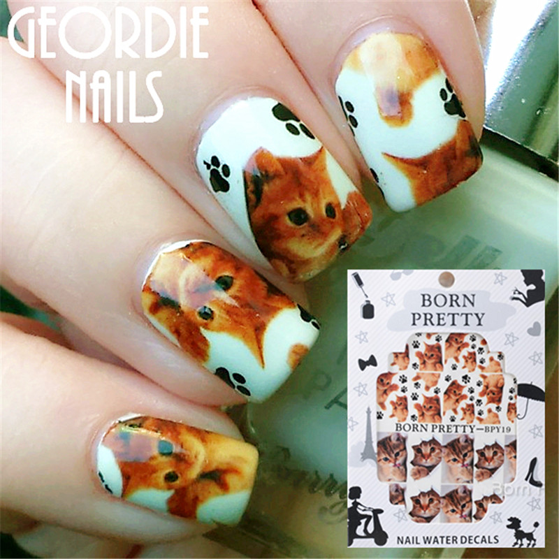 2 Patterns/Sheet BORN PRETTY Cute Cat Claw Nail Art Water Decals Transfer Sticker BPY19