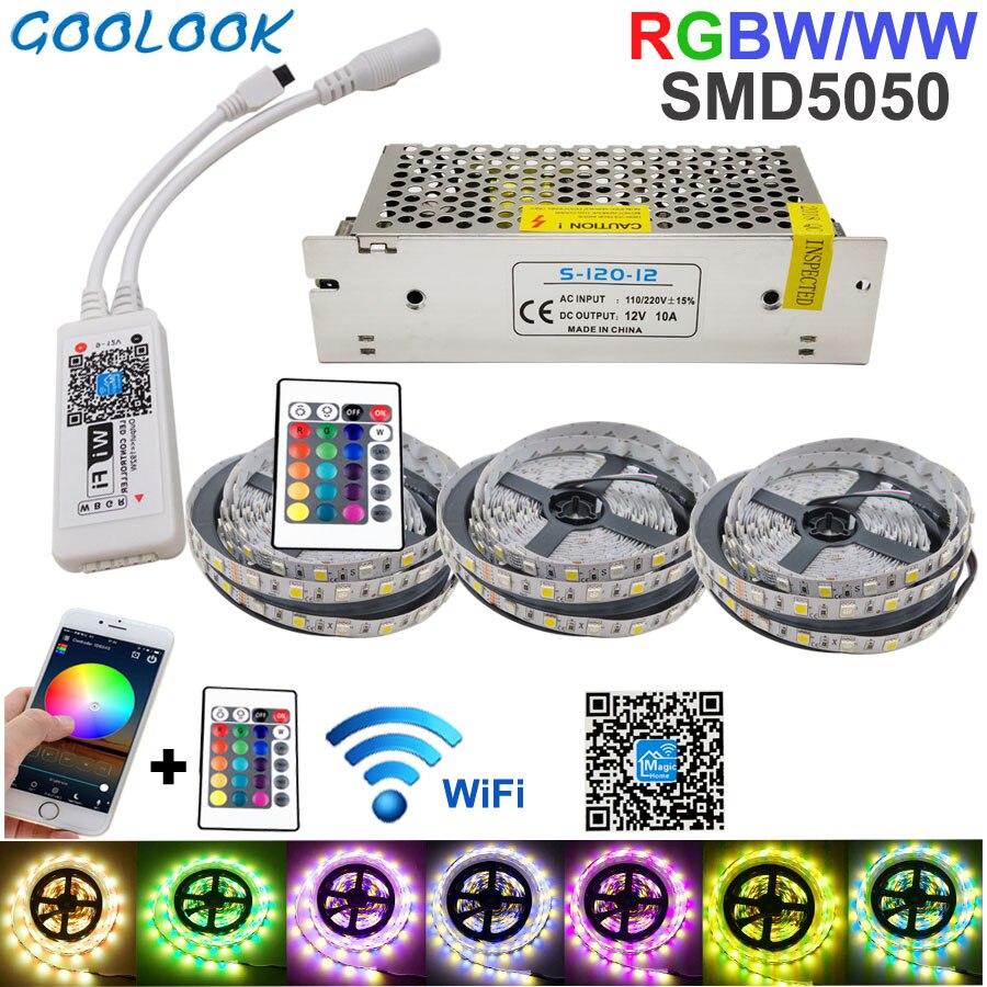 15 M Wifi bande RGB LED bande lumière smd 5050 RGBW étanche bande Flexible Diode ruban DC12V ensemble de puissance nouvel an guirlande Christma