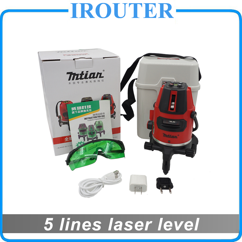 Mtian New 2017 model 5lines 6point, Green laser level , 5 lines 6 points laser level 360 rotary cross laser line leveling 1pc laser cast line machine multifunction laser line cross line laser rotary laser level 360 selfing leveling 5 line 4v1h3 point