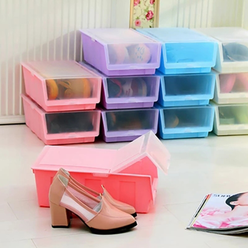 Fashion Colour Thickening Combined Clamshell Shoe Organizers Dustproof Plastic Storage box Fruit Vegetables Storage containers