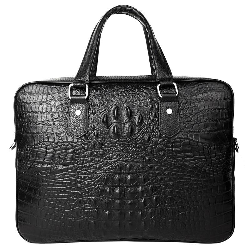 Luxury Brand Crocodile Cowhide Men Handbags Genuine Leather Men's Briefcase Business Laptop Bag Shoulder Messenger Bag For Men
