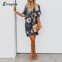 Erregina Women Floral Print Sexy Deep V-Neck Flare Sleeve Loose Short Mini Dress Summer Female Bech Boho Dress