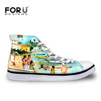 FORUDESIGNS Fashion Women Vulcanize Shoes 3D Painting Brand Designer Female Casual Canvas High Top Shoes Flats