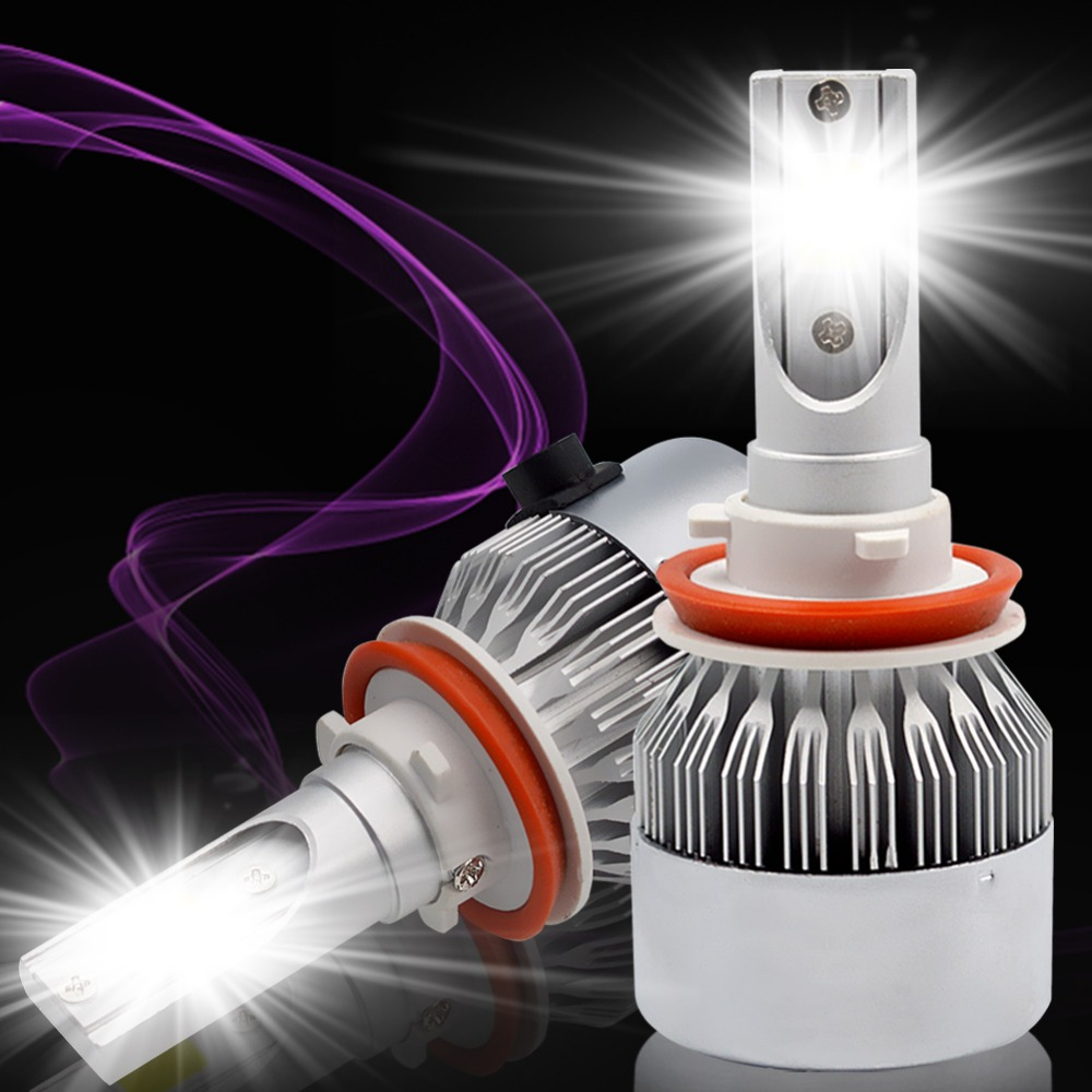 H7 H4 H8 H9 H11 9005/HB3 9006/HB4 C6 led headlight kit 72W COB Car Headlight Bulbs 8000LM 6000K Fog Light Bulb DC12v 24v