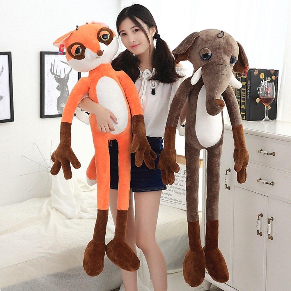 60-120 cm lindo suave Kawaii Mono/elefante Fox peluche muñeca moda Kawaii regalo para regalo de Cumpleaños de los niños