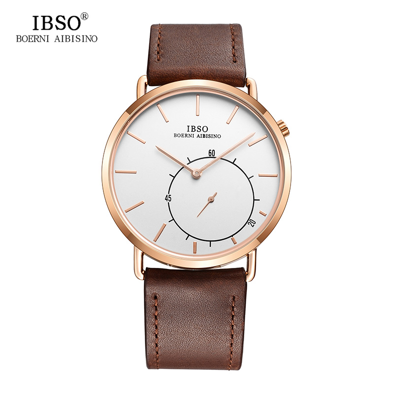 IBSO Mens Watches Top Brand Luxury 8MM Ultra-thin Brown and Black Genuine Leather Strap Quartz Watch Men Relogio Masculino ultra luxury 2 3 5 modes german motor watch winder white color wooden black pu leater inside automatic watch winder