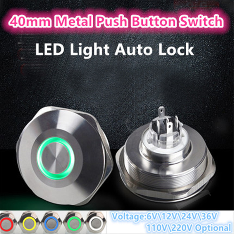 New 40mm Colorful LED Light Shine Car Horn Auto Lock Waterproof Latching Flat Round Stainless Steel Metal Push Button Switch