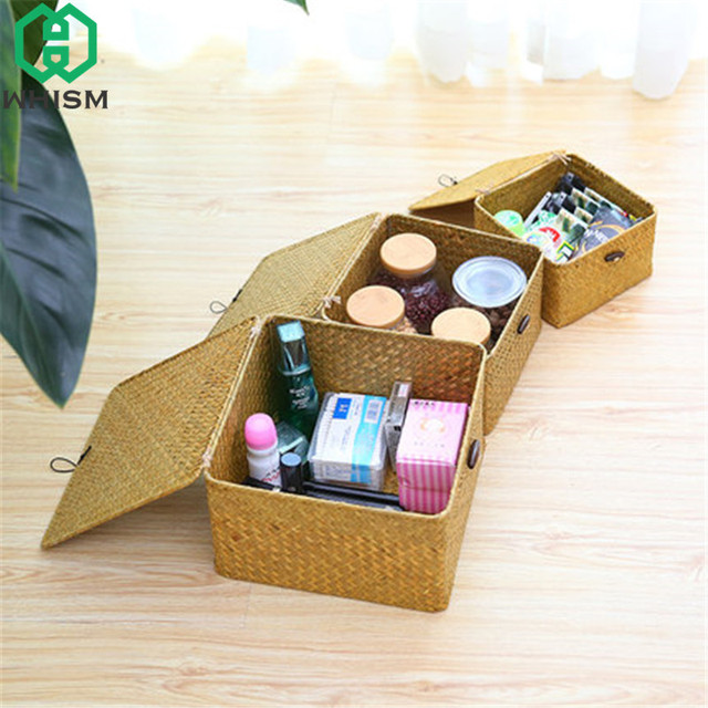 WHISM Handmade Storage Basket with Cover Vintage Cosmetic Makeup Storage Boxes Children Toys Container Rattan Travel & WHISM Handmade Storage Basket with Cover Vintage Cosmetic Makeup ...