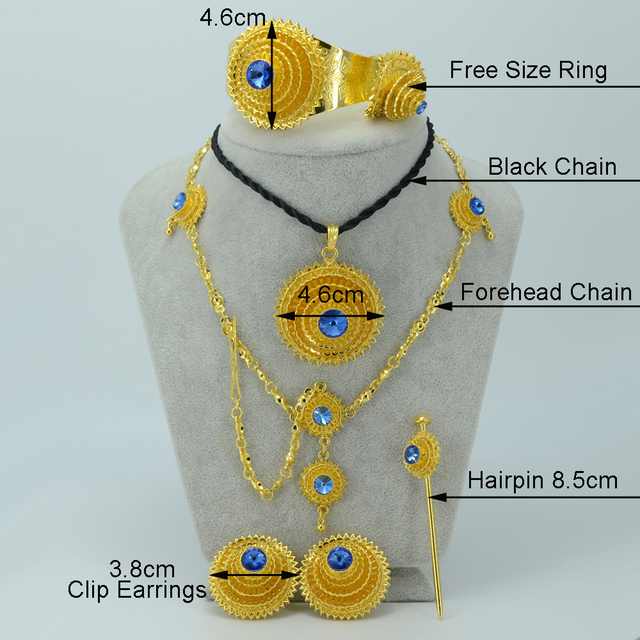 NEW Ethiopian Gold Jewelry sets,Blue Stone,Gold Plated Habesha set Bride Wedding Eritrea Forehead Chain Hair PCS Africa #000717