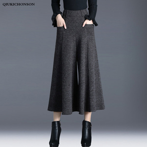Image 1 - ฤดูหนาวกางเกงผู้หญิงสูงเอวข้อเท้าความยาวขนสัตว์กางเกงขากว้าง culottes กางเกงกางเกงกางเกง pantalon Palazzo mujer